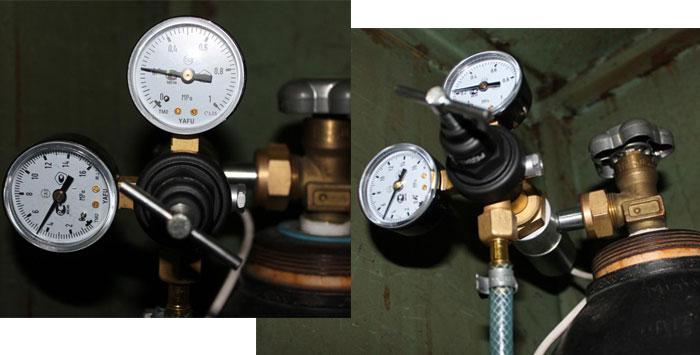 Углекислотный редуктор давления. Регулировка подачи защитного газа