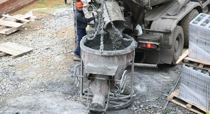 приемка бетонной смеси бадьей